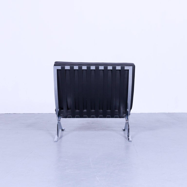 knoll international barcelona chair by ludwig mies van der rohe black leather for sale 4