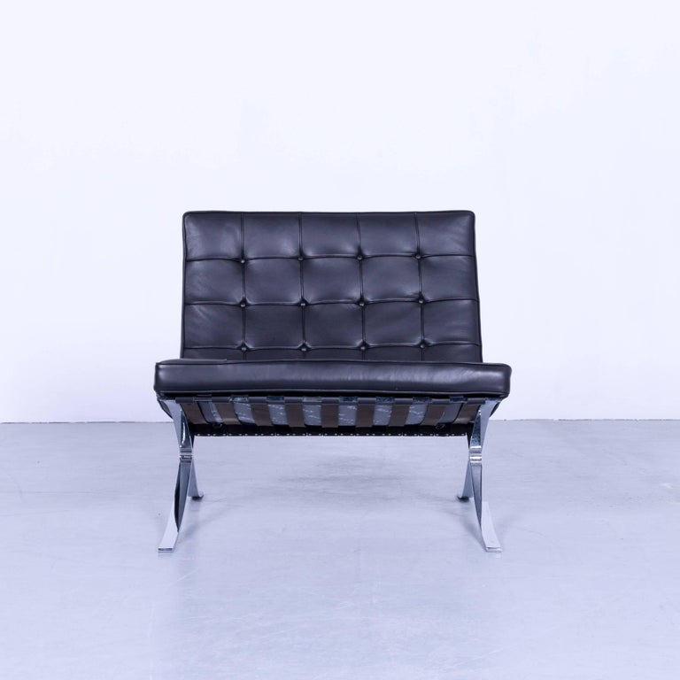 knoll international barcelona chair by ludwig mies van der rohe black leather leather velluto pelle