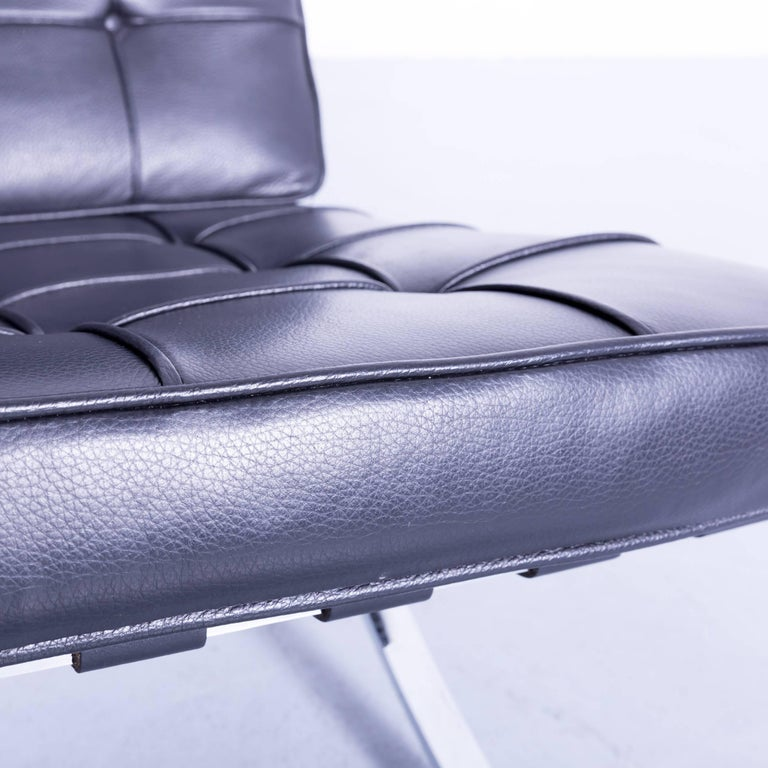 german knoll international barcelona chair by ludwig mies van der rohe black leather for sale