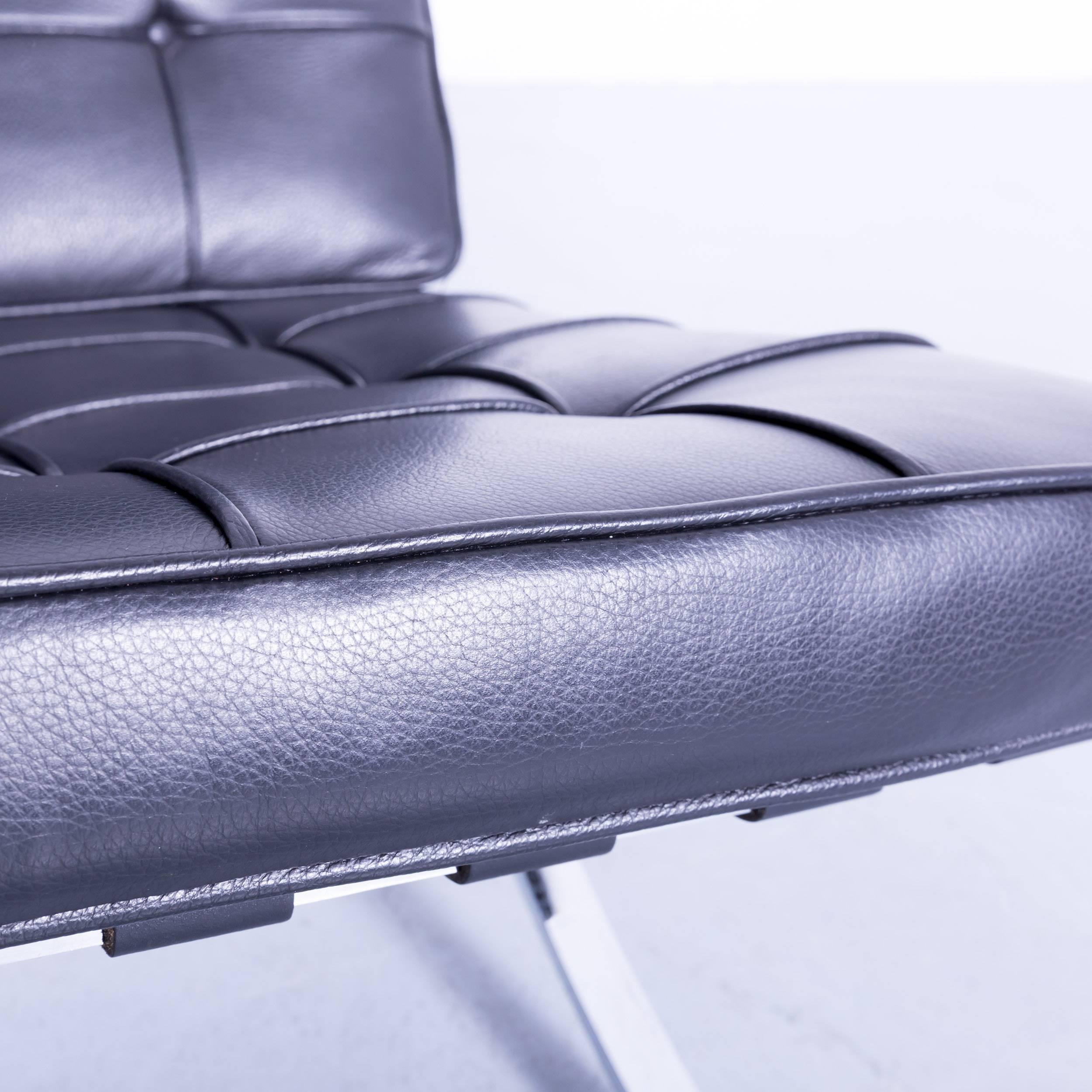 German Two Knoll International Barcelona Chair Ludwig Mies Van Der Rohe  Black Leather For Sale