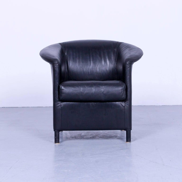 wittmann aura designer armchair leather black modern at 1stdibs. Black Bedroom Furniture Sets. Home Design Ideas