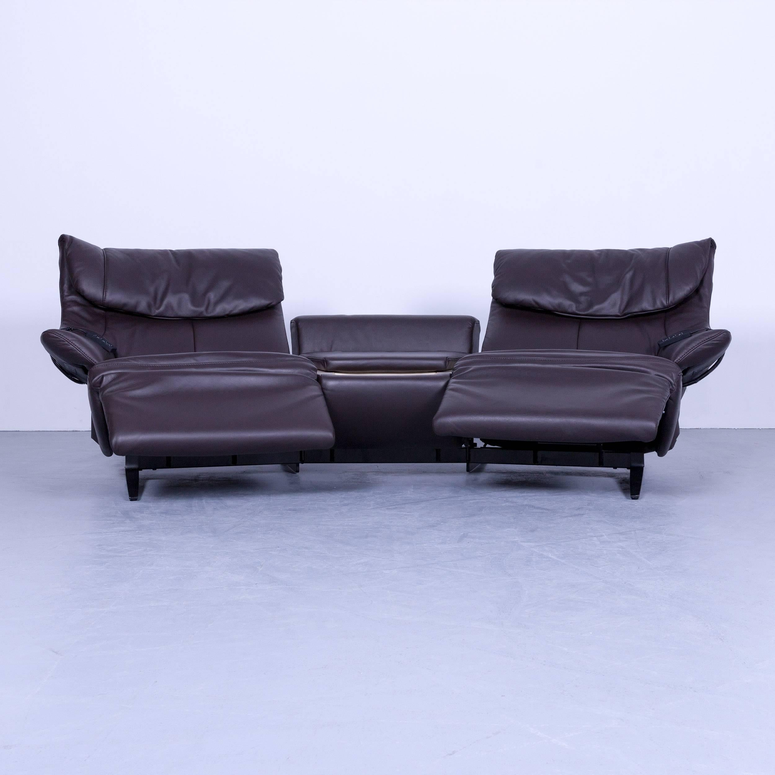 Himolla Designer Sofa Leather Brown Two Seat Trapez Couch Germany, In A  Minimalistic And