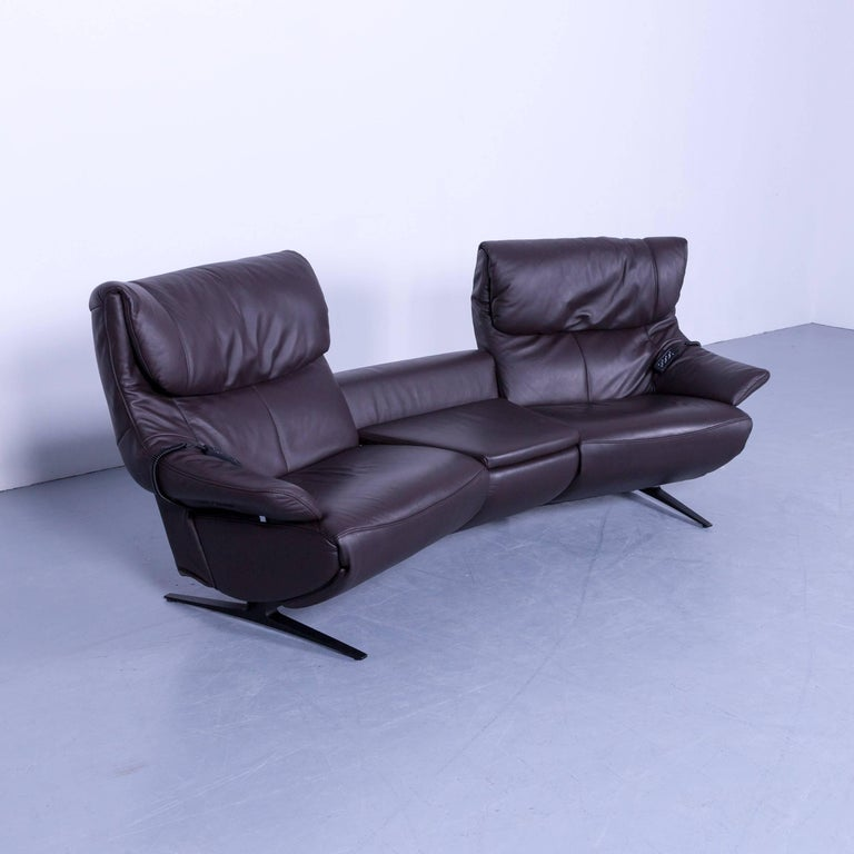 Himolla Pirelli Designer Sofa Leather Brown Two Seat Trapez Couch Germany Swing For Sale At 1stdibs