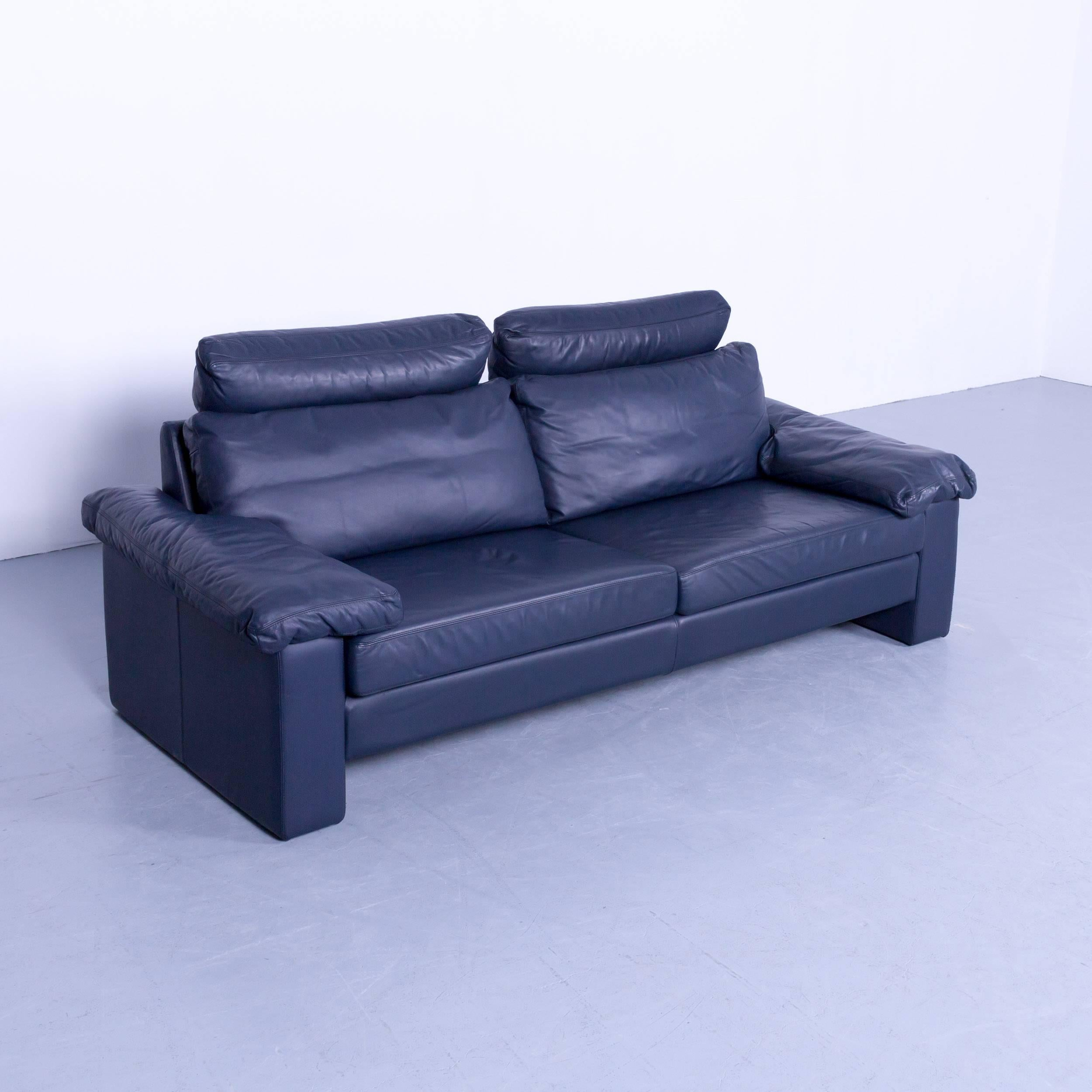 COR Conseta Designer Sofa Leather Blue Three-Seat Couch Modern