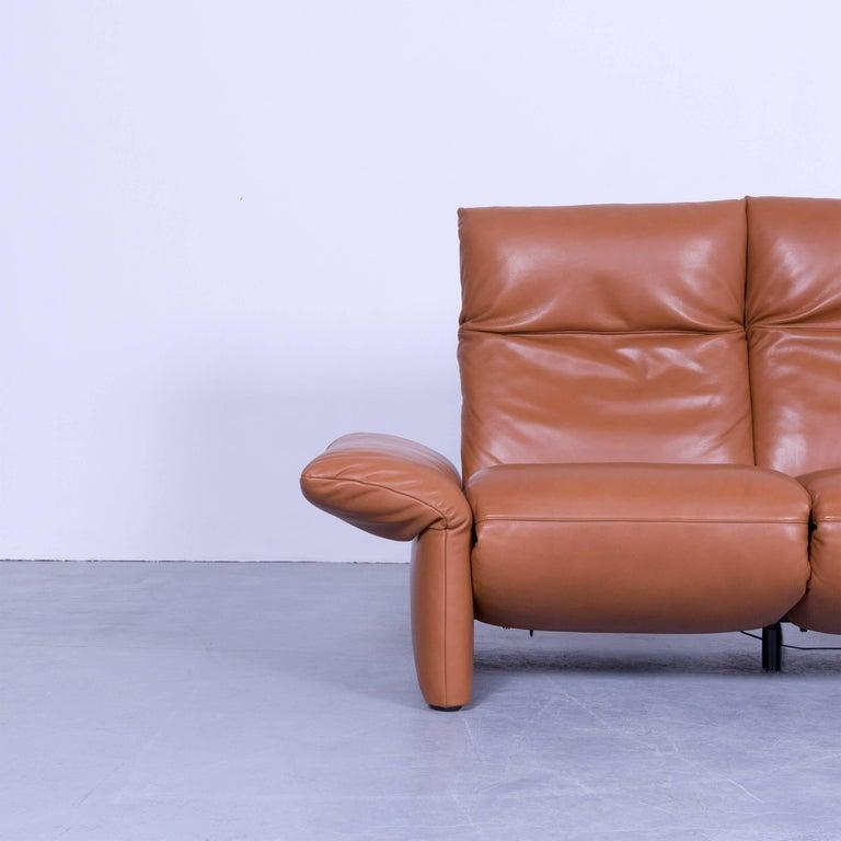Koinor Elena Designer Two Seat Sofa Brown Cognac Leather Function