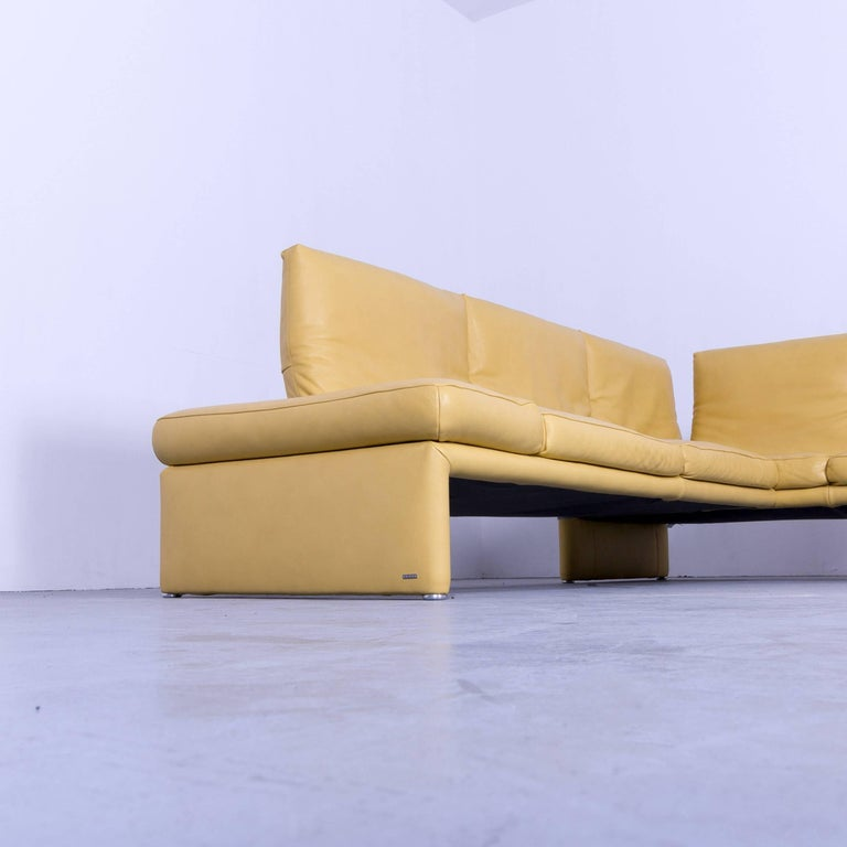 Koinor Raoul Designer Corner Sofa Yellow Leather Function Modern For Sale At 1stdibs