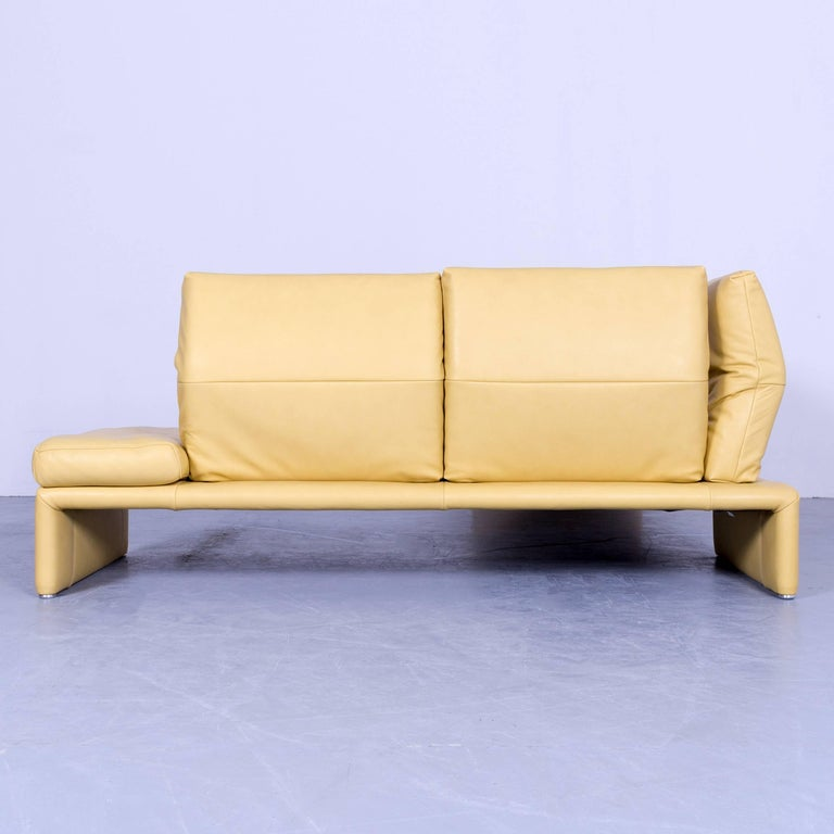 Koinor raoul designer corner sofa yellow leather function for Funktions ecksofa
