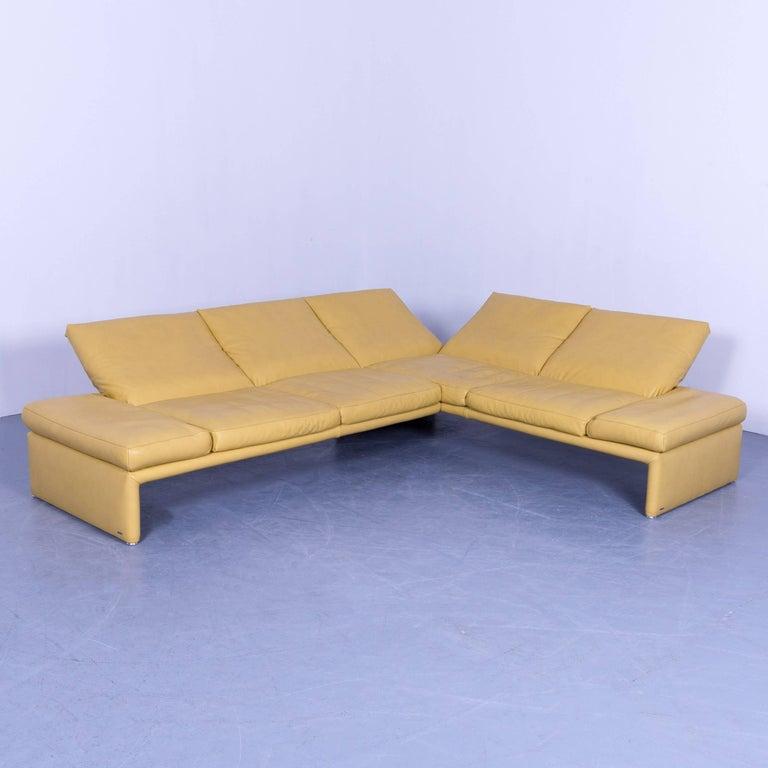 Koinor raoul designer corner sofa yellow leather function for Ecksofa yellow