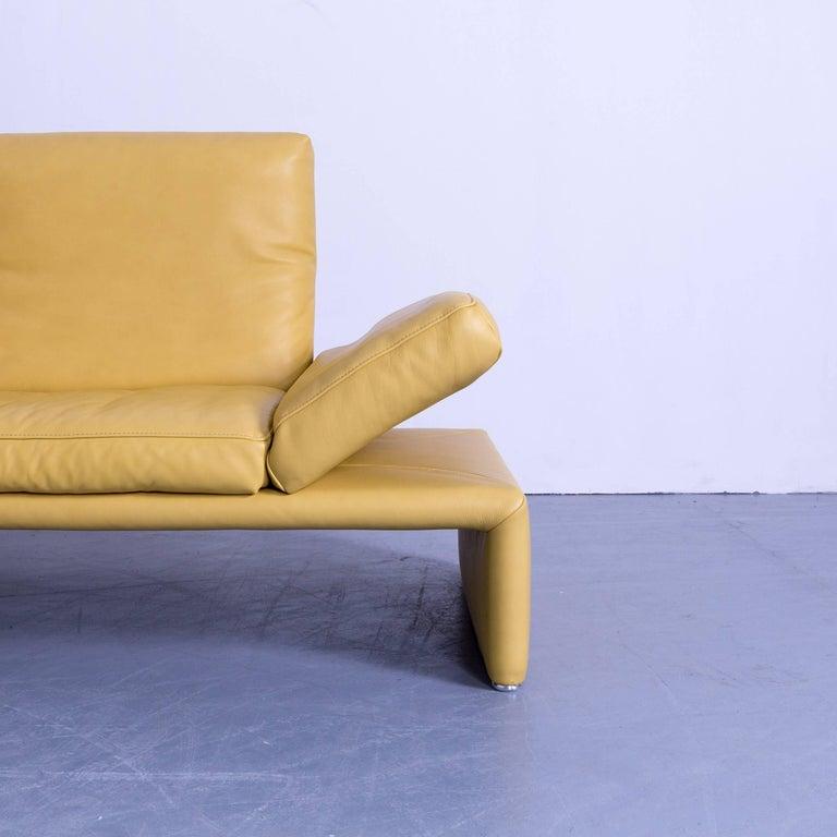 Koinor raoul designer corner sofa yellow leather function for Ecksofa gelb