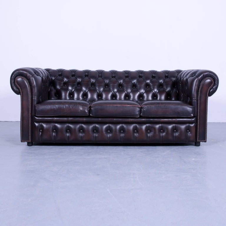 Chesterfield Sofa Set Three Seat And Two Seat Sofa Brown Mocca