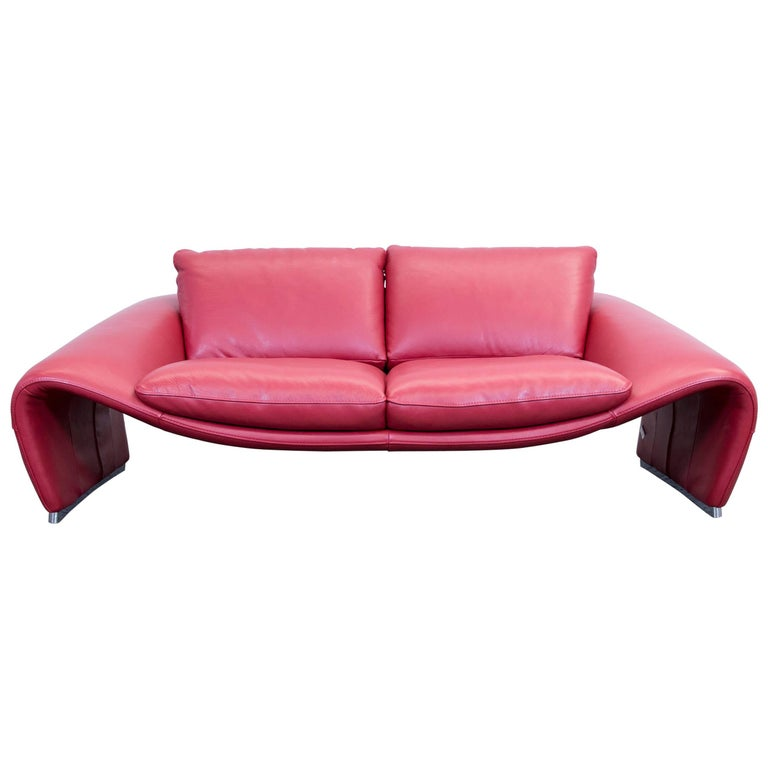 Chateau D 39 Ax Voga Designer Sofa Leather Red Three Seat Function Couch Modern At 1stdibs