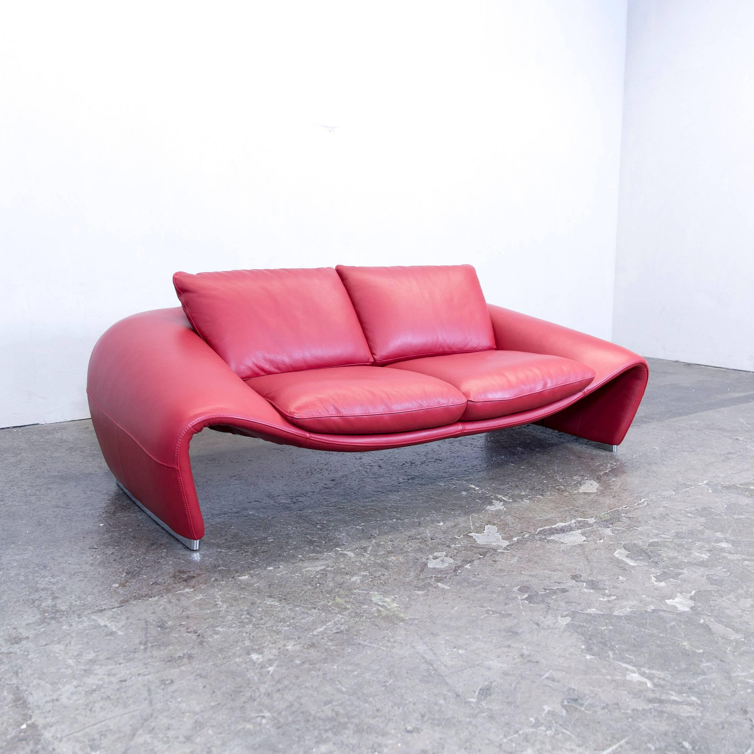 Chateau Du0027Ax Voga Designer Sofa Leather Red Three Seat Function Couch  Modern In