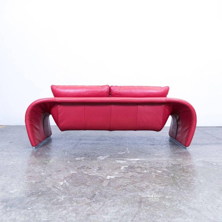 Chateau D Ax Voga Designer Sofa Leather Red Three Seat