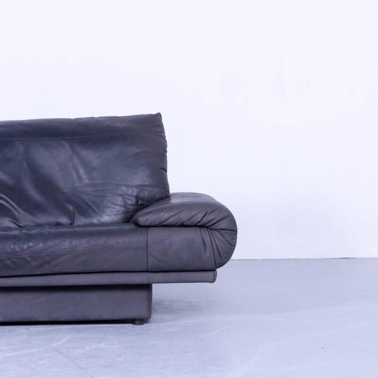 Rolf Benz 345 Designer Sofa Leather Black Three Seat Couch