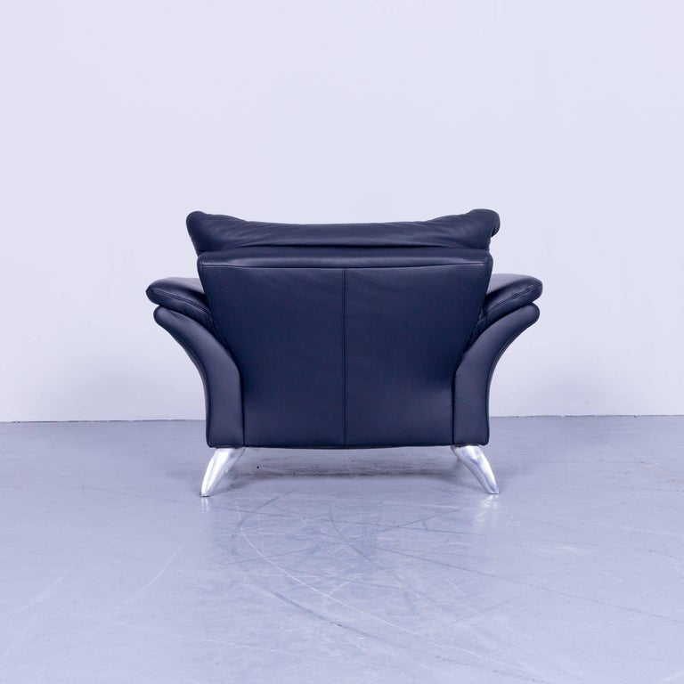 Musterring Designer Armchair Leather Night Blue One Seat Couch Modern For Sale At 1stdibs