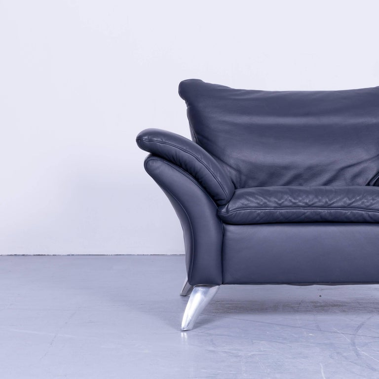 musterring designer armchair leather night blue one seat. Black Bedroom Furniture Sets. Home Design Ideas