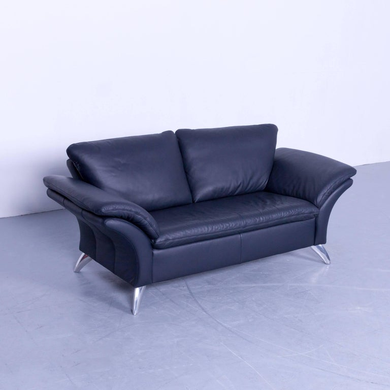 musterring designer leather sofa night blue two seat couch. Black Bedroom Furniture Sets. Home Design Ideas