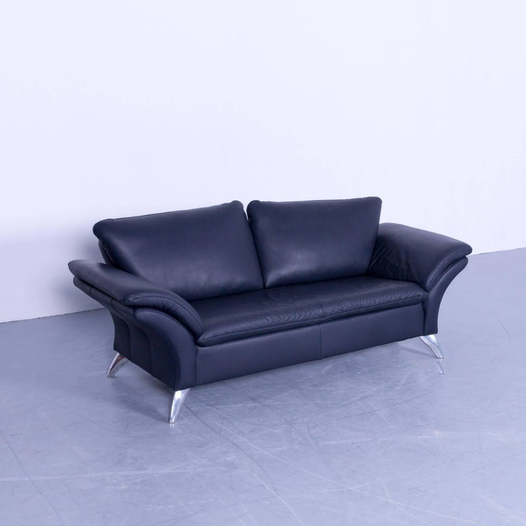 musterring designer sofa set leather night blue couch modern at 1stdibs. Black Bedroom Furniture Sets. Home Design Ideas