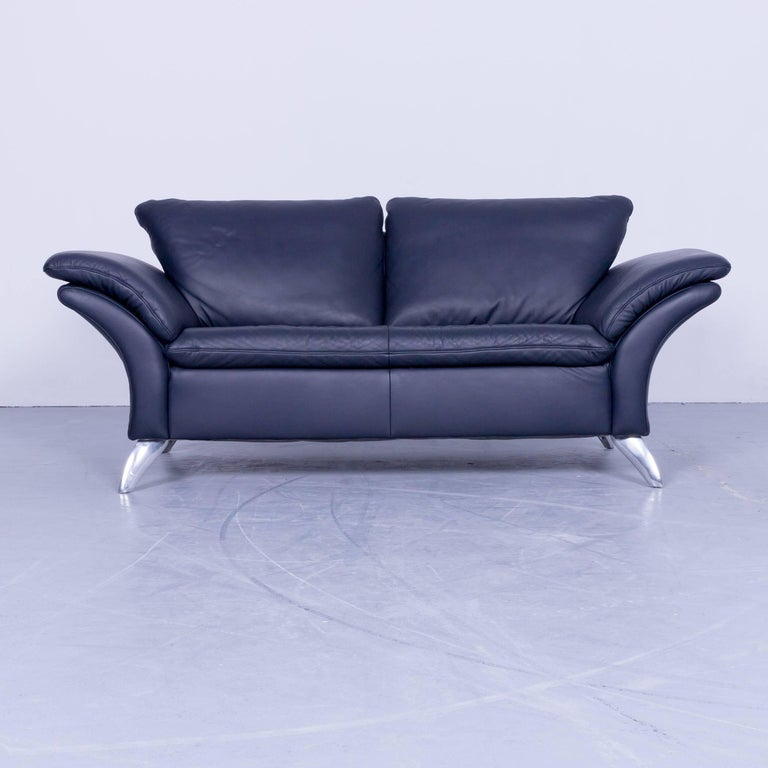 Musterring designer sofa set leather night blue couch for Musterring sofa