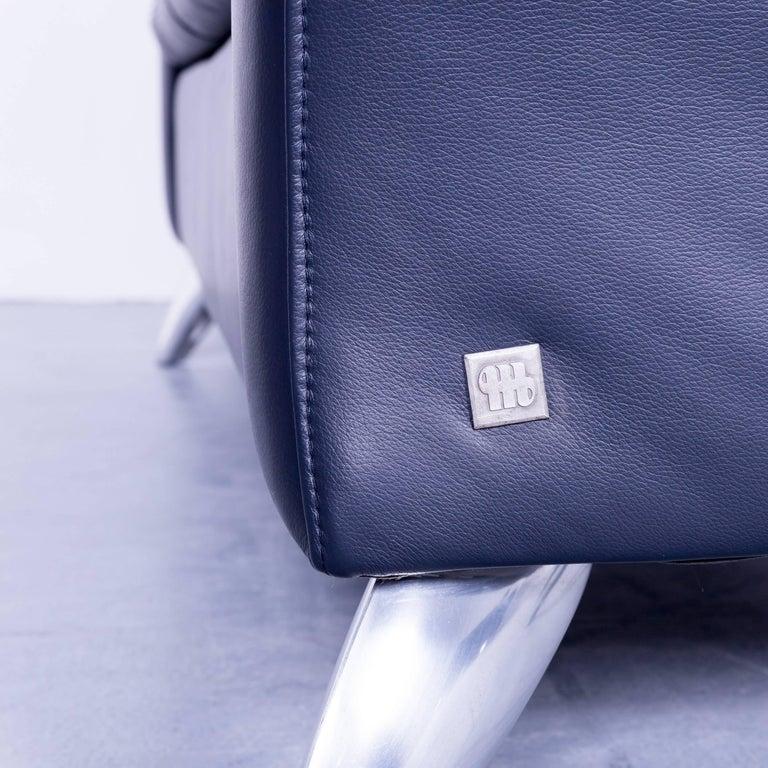 musterring designer sofa set leather night blue couch. Black Bedroom Furniture Sets. Home Design Ideas