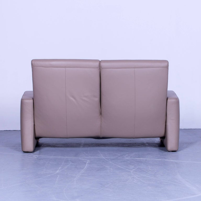Himolla Designer Sofa Leather Beige Creme Two Seat Couch Germany