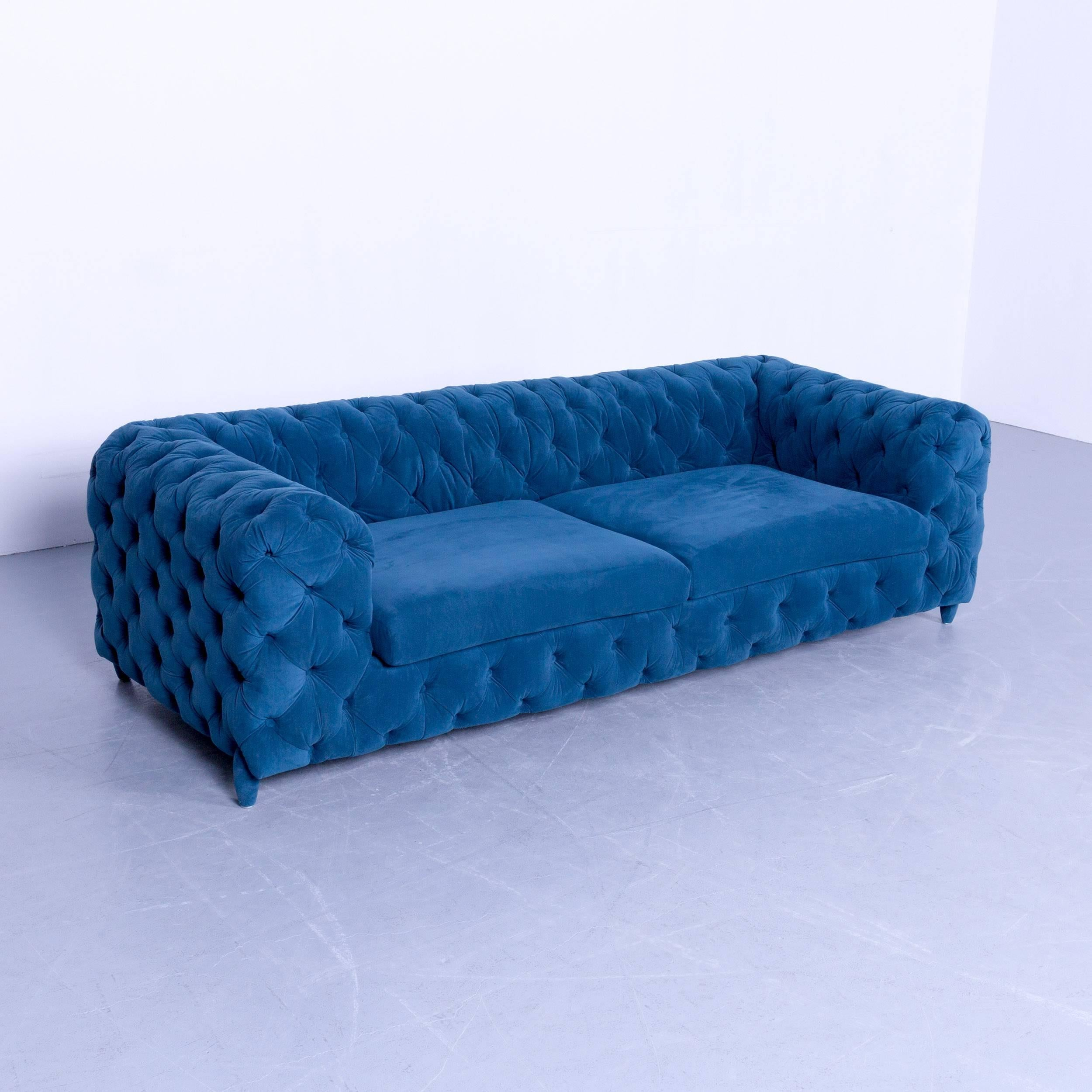 Original Kare Designer Sofa Fabric Blue Two Seat Couch Germany