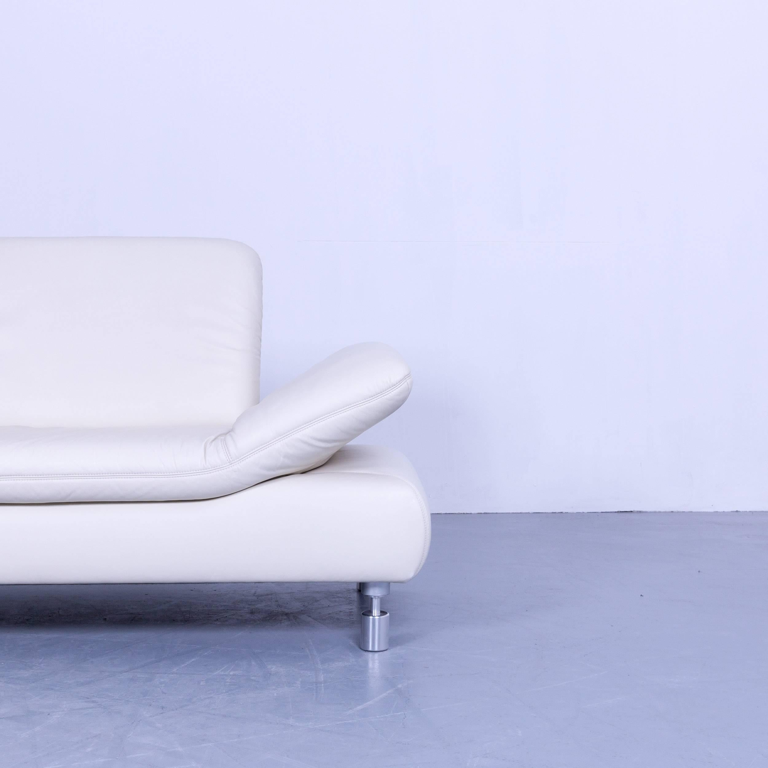 Koinor Rivoli Designer Three Seat Sofa In White Crème Leather Function  Modern 3