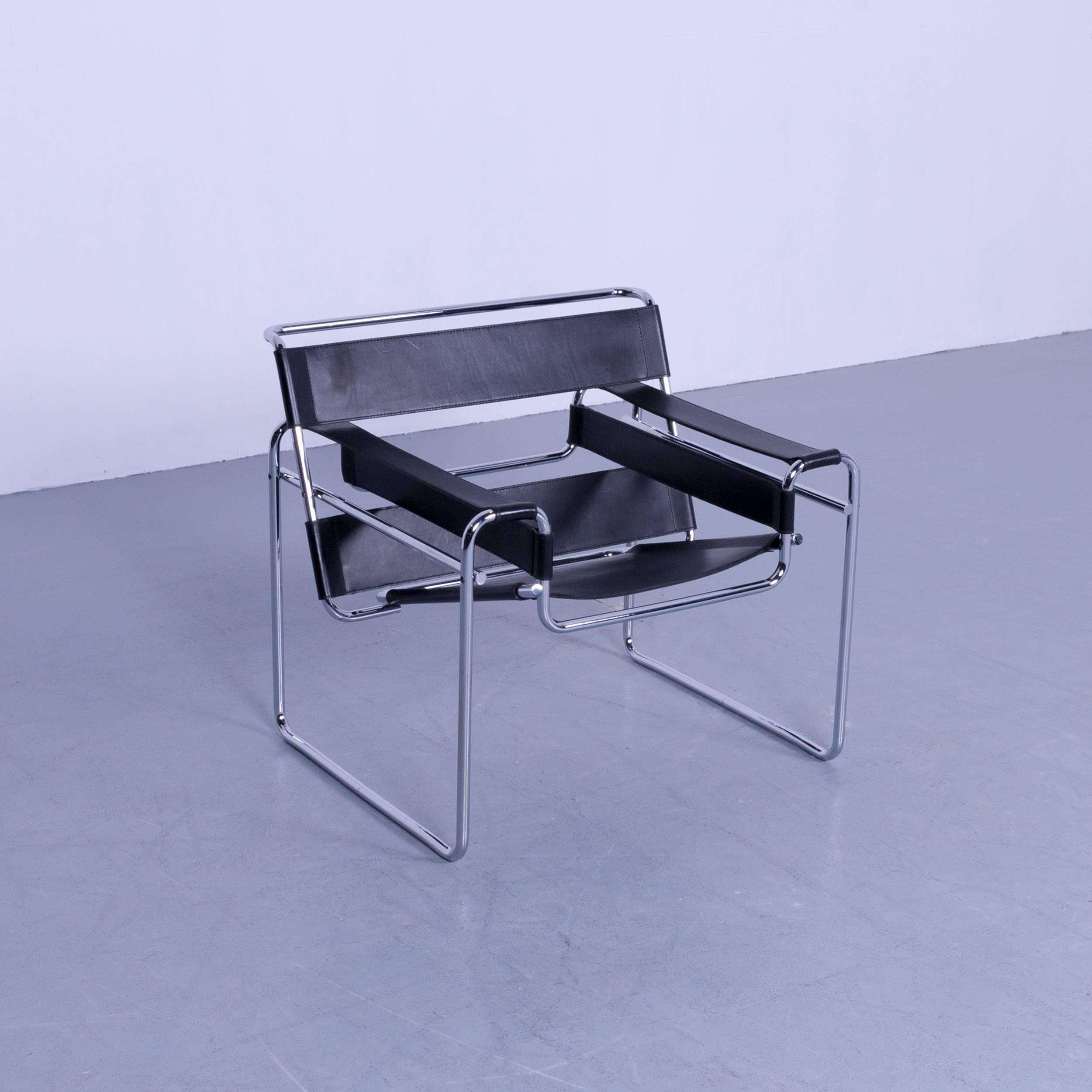 High Quality German Knoll International Wassily Designer Armchair By Marcel Breuer Black  Leather For Sale