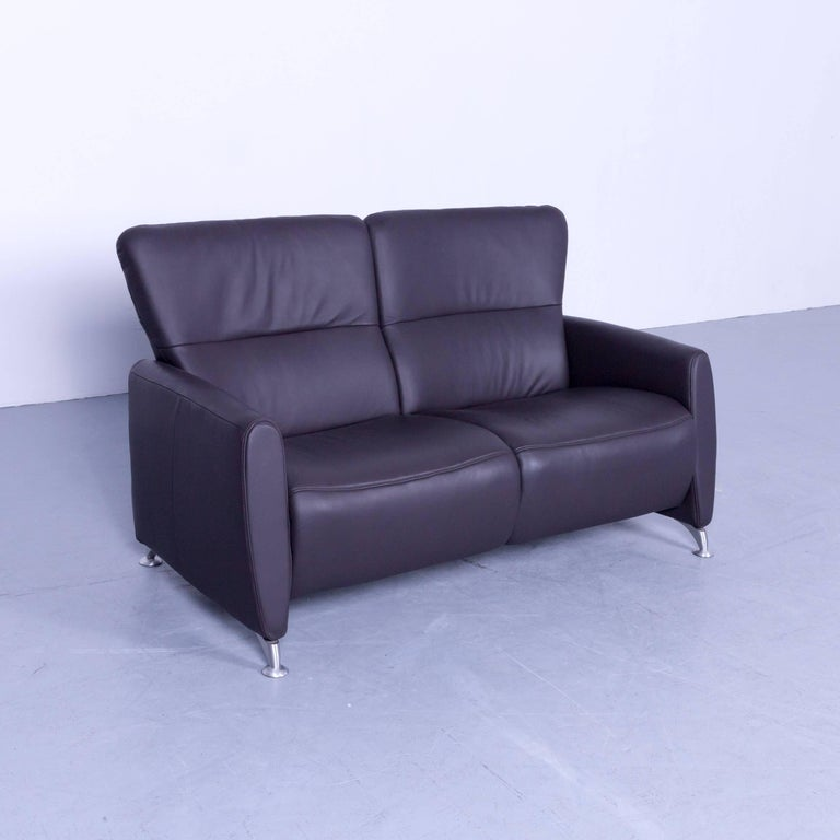 Himolla Designer Relax Sofa Leather Brown Two Seat Couch Germany Modern For Sale At 1stdibs