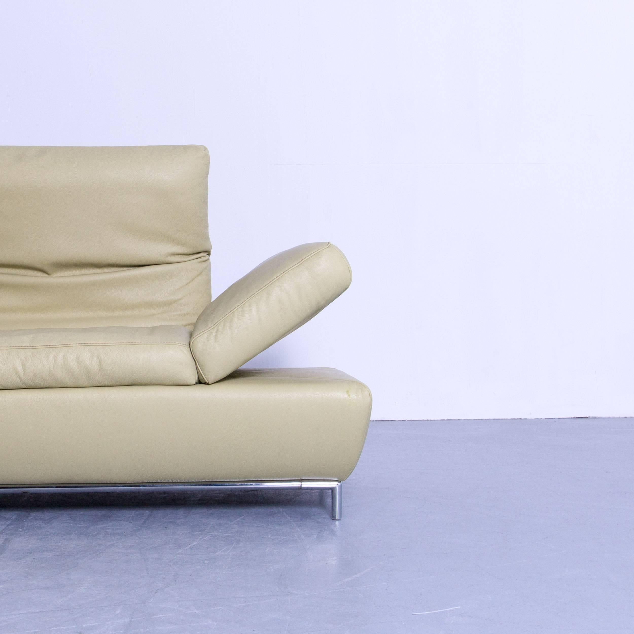German Koinor Designer Three Seat Sofa In Light Green Leather Function  Modern For Sale