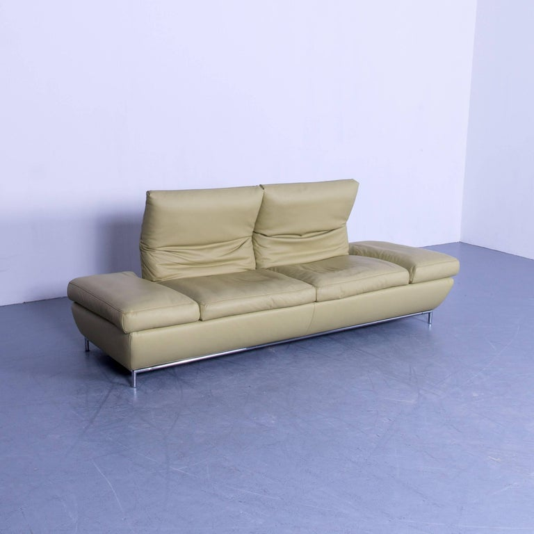 koinor designer three seat sofa in light green leather function modern for sale at 1stdibs. Black Bedroom Furniture Sets. Home Design Ideas