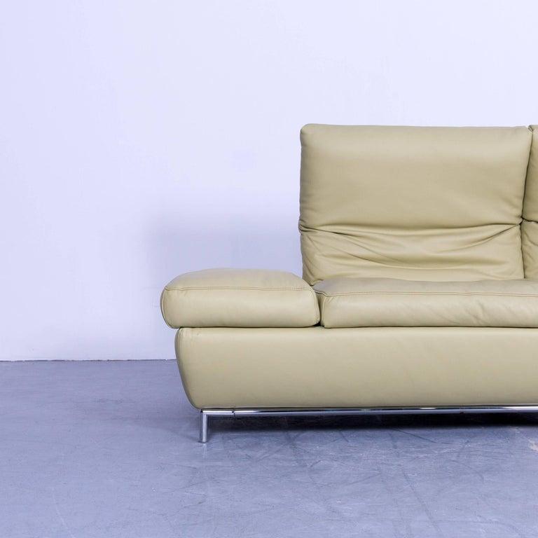 Koinor Designer Three Seat Sofa In Light Green Leather Function
