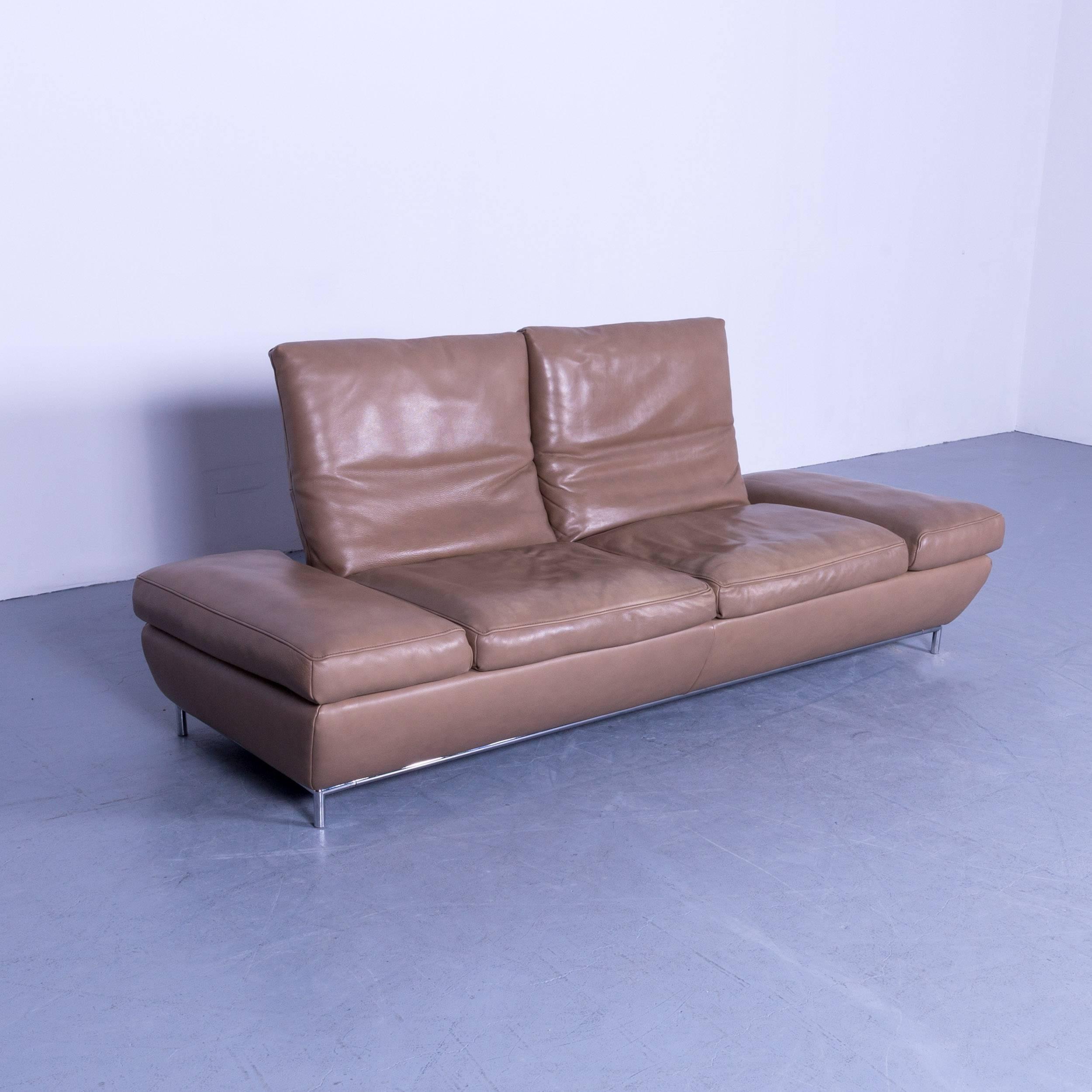German Koinor Designer Three Seat Sofa In Light Brown Semi Anilin Leather  Function For Sale