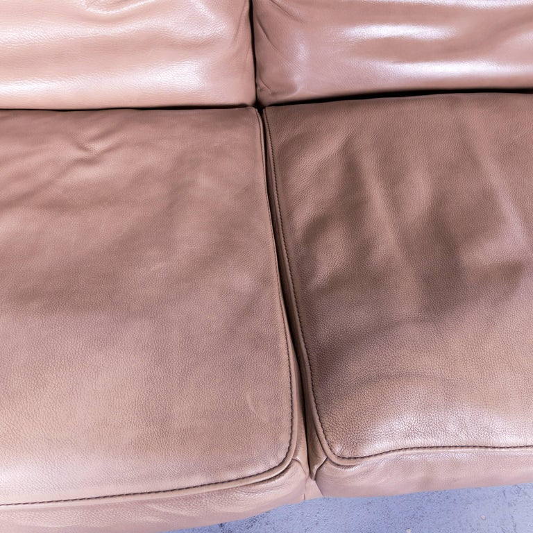 Koinor Designer Three Seat Sofa In Light Brown Semi Anilin Leather Function For Sale At 1stdibs