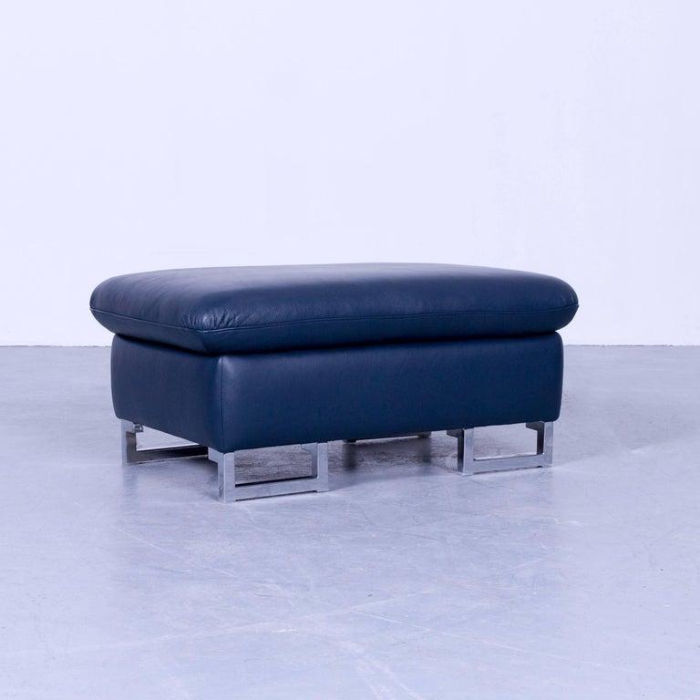 willi schillig designer leather foot stool blue pouff spacebox modern couch for sale at 1stdibs. Black Bedroom Furniture Sets. Home Design Ideas