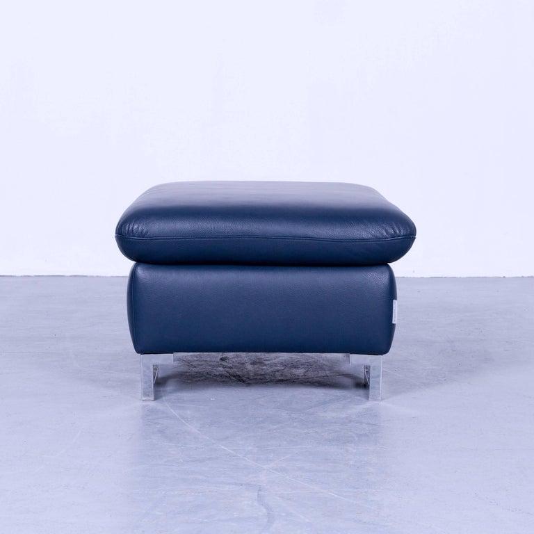 willi schillig designer leather foot stool blue pouff. Black Bedroom Furniture Sets. Home Design Ideas