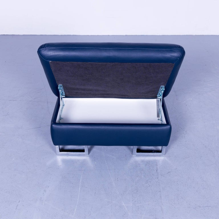 Willi Schillig Designer Leather Foot Stool Blue Pouff Spacebox Modern Couch For Sale At 1stdibs
