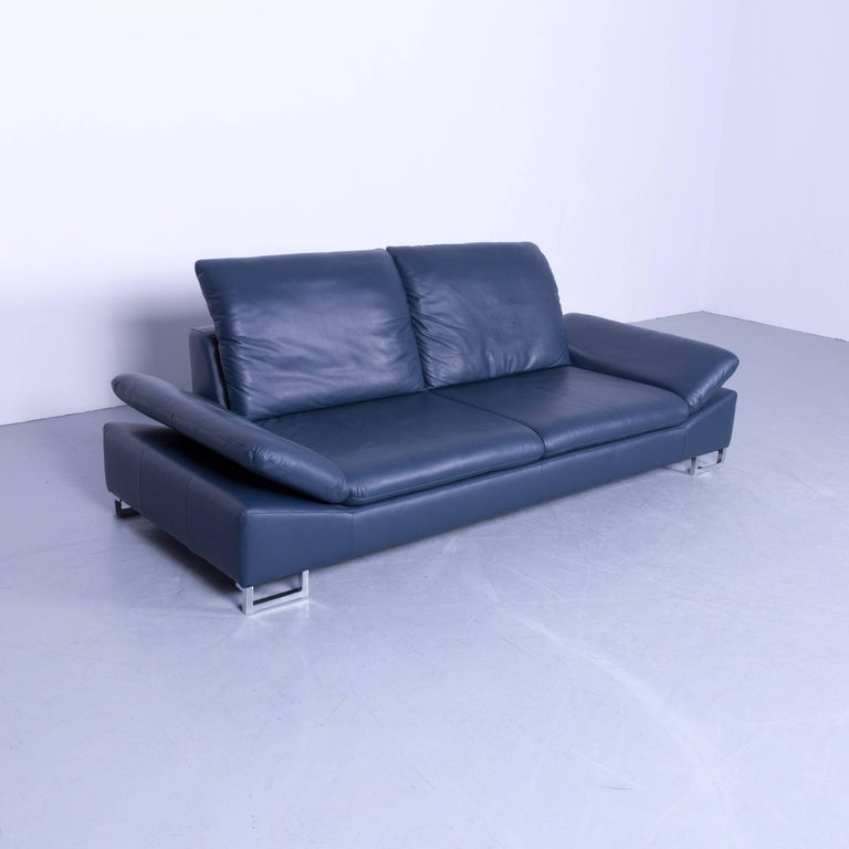Willi Schillig Designer Sofa Three Seat Blue Leather Minimalistic Function Couch For Sale At 1stdibs