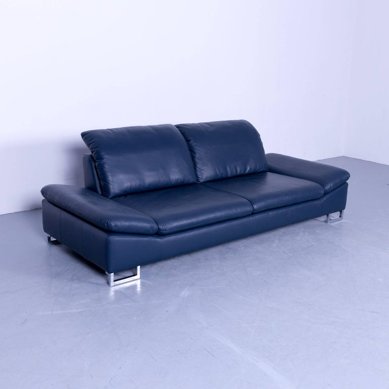 willi schillig designer sofa three seat blue leather. Black Bedroom Furniture Sets. Home Design Ideas