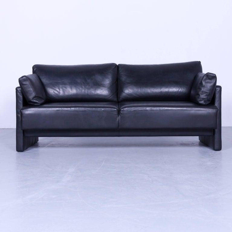 br hl and sippold designer sofa set black leather two seat. Black Bedroom Furniture Sets. Home Design Ideas