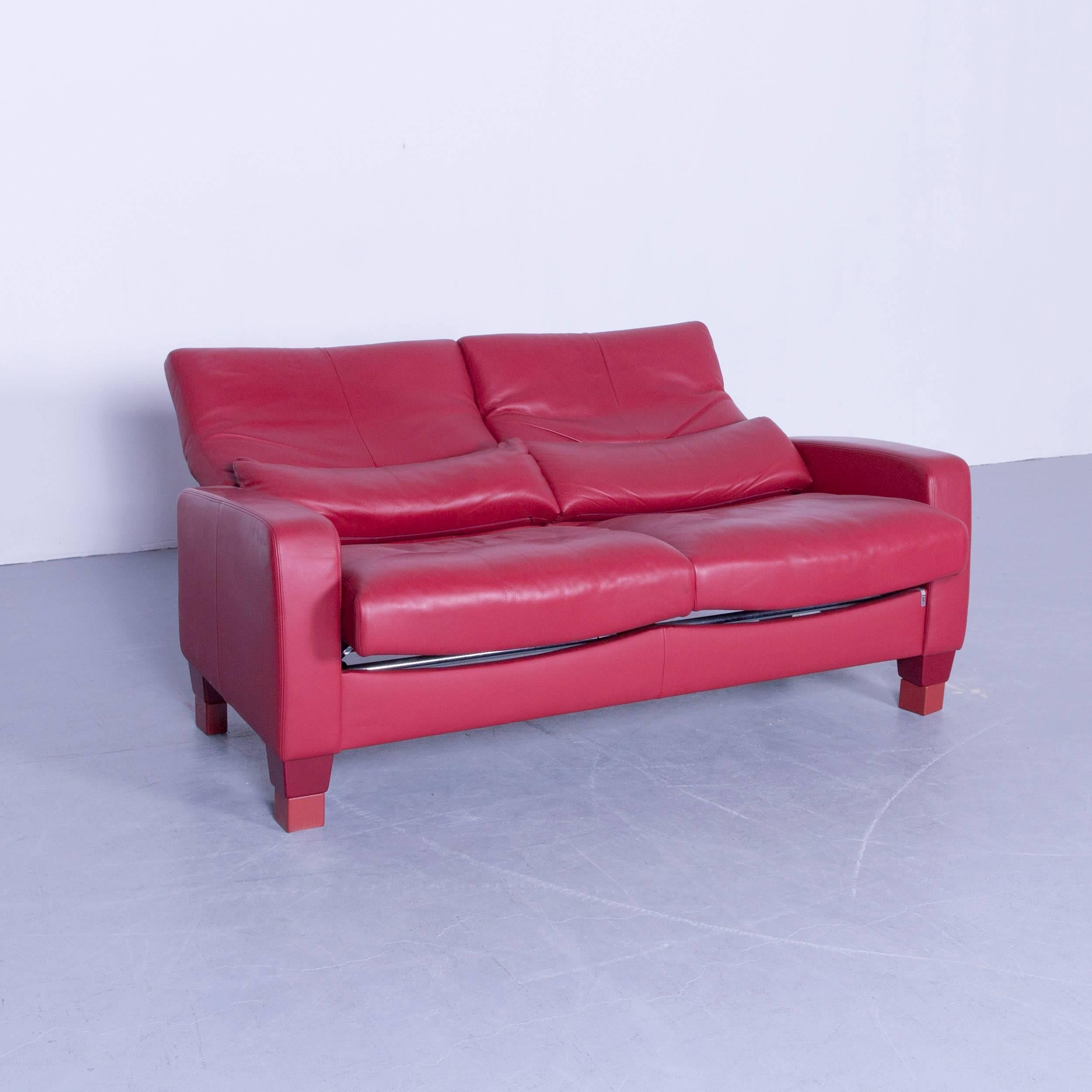 Erpo Designer Sofa Set Leather Red Two Seat and Armchair Couch