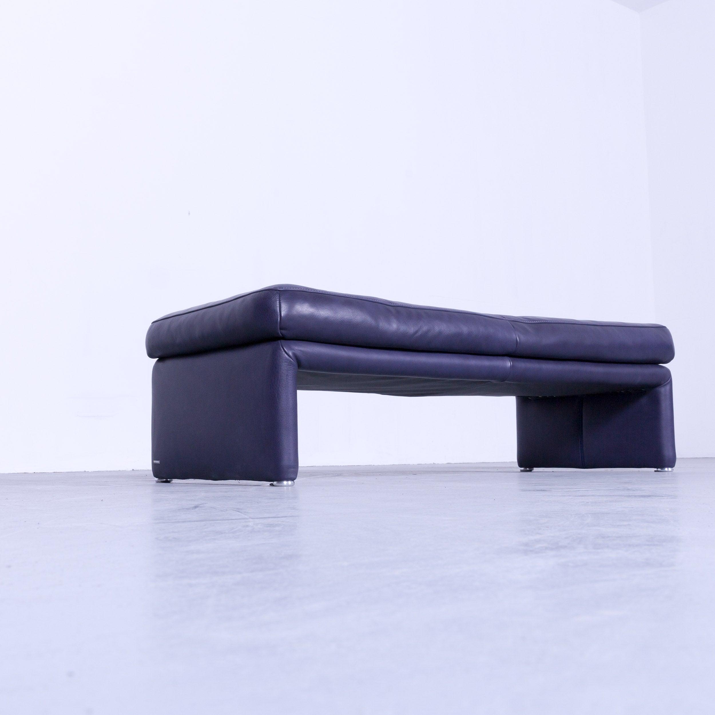 Koinor Raoul Designer Footstool Purple Eggplant Colored Leather Footrest Pouf