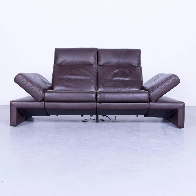 original mondo designer sofa brown three seat couch modern recliner function for sale at 1stdibs. Black Bedroom Furniture Sets. Home Design Ideas