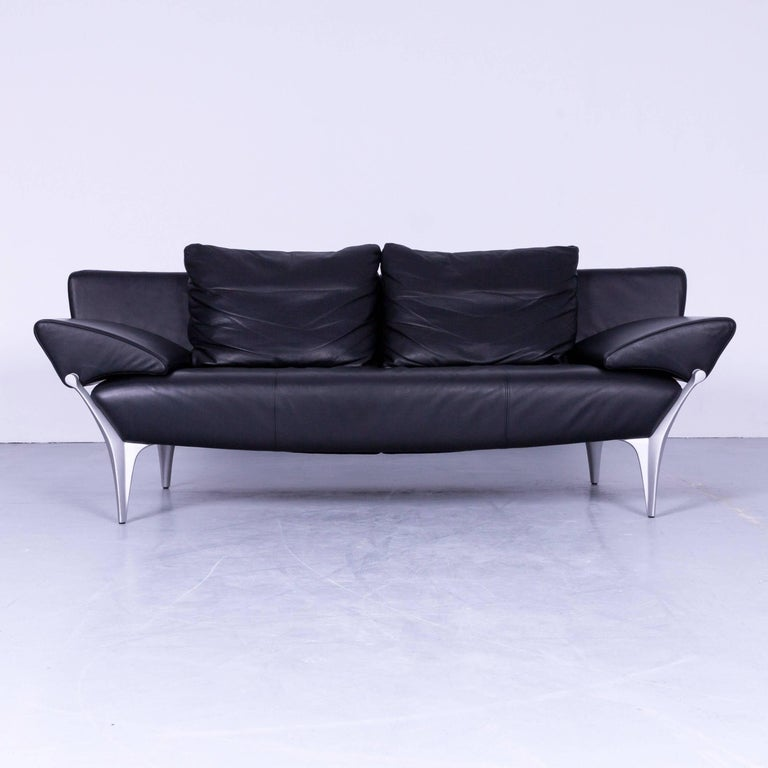 Rolf Benz SOB 1600 Designer Sofa set Leather Black Three