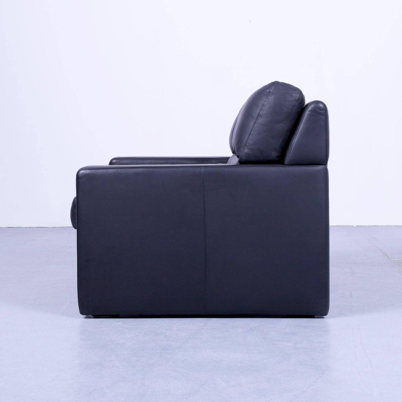 WK Wohnen Designer Armchair Set Leather Black Couch Modern at 1stdibs