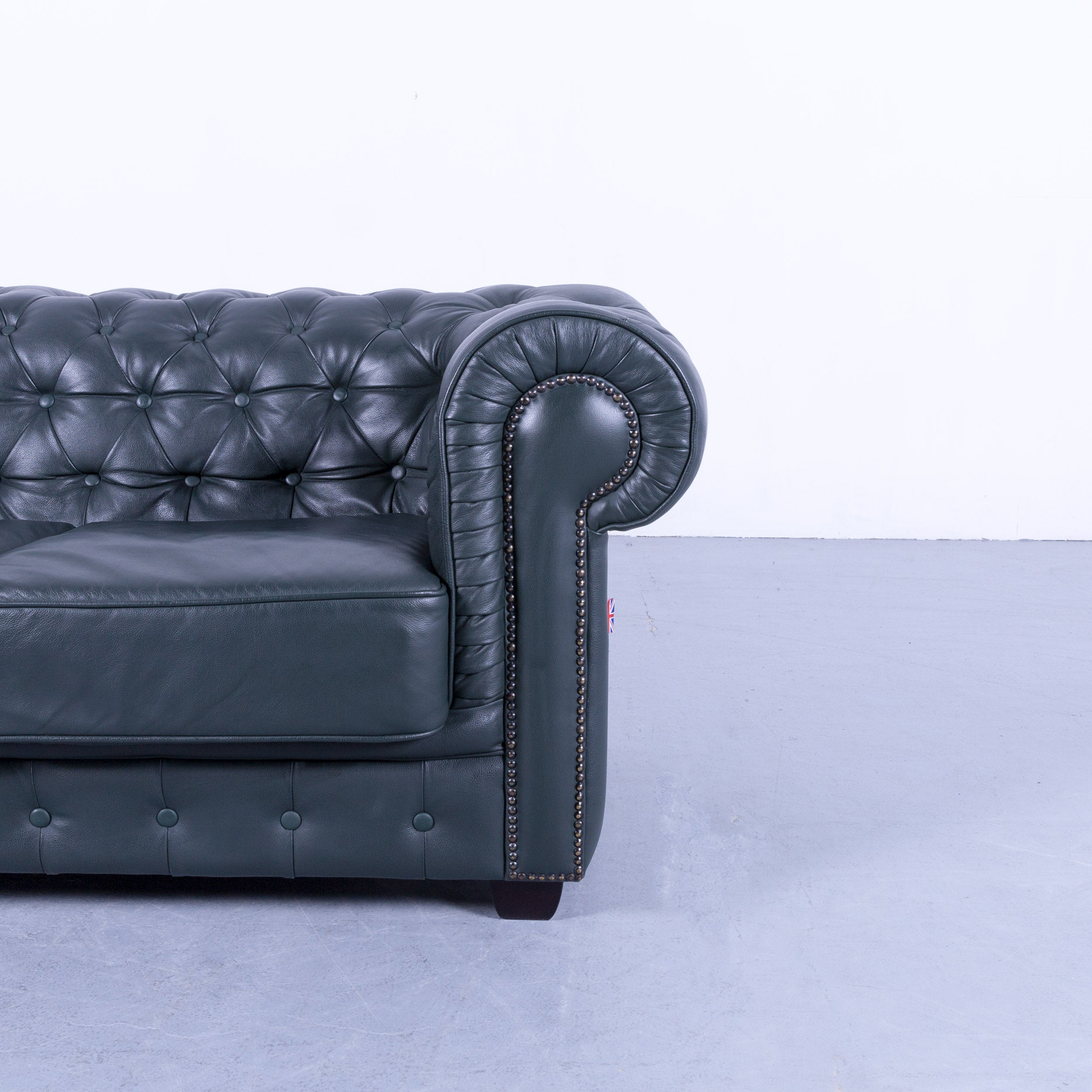 Chesterfield Sofa Dark Green Two Seat Vintage Retro Couch Rivets Uk