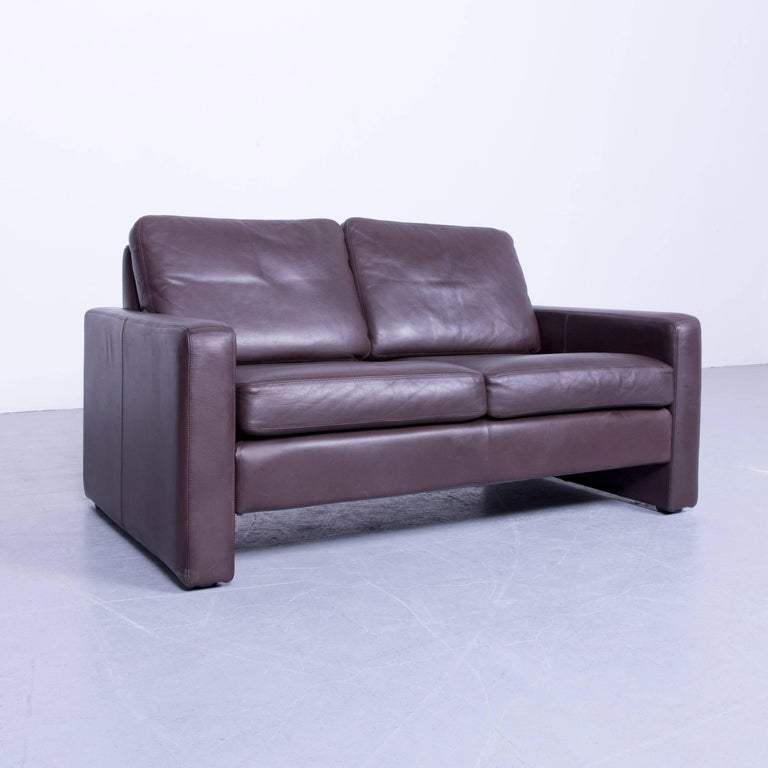 cor conseta designer sofa leather brown two seat couch friedrich wilhelm m ller for sale at 1stdibs. Black Bedroom Furniture Sets. Home Design Ideas