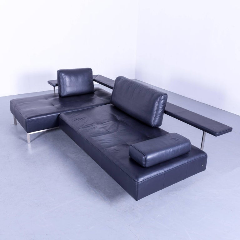 Rolf Benz Dono Designer Corner Sofa Leather Navy Blue Dark