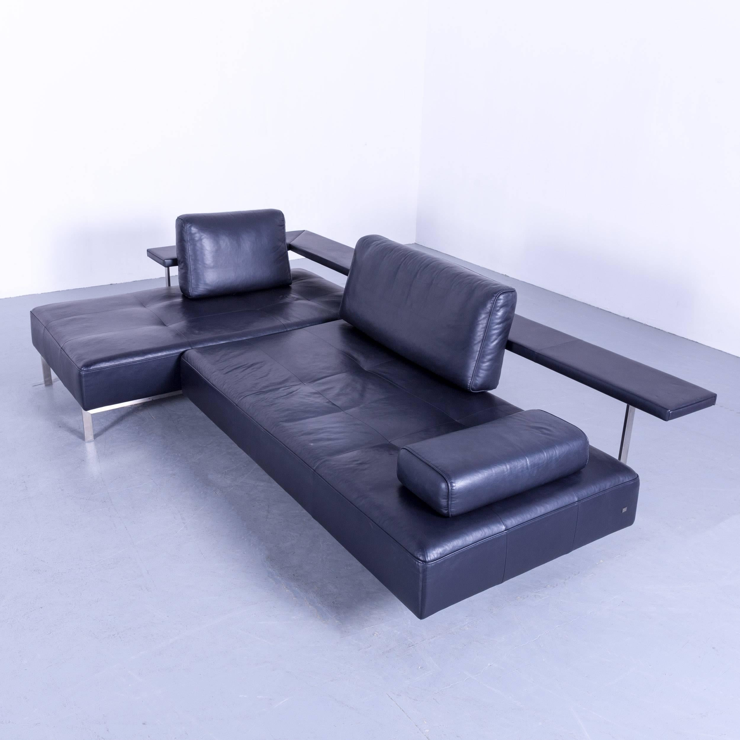 German Rolf Benz Dono Designer Corner Sofa Leather Navy Blue Dark Blue Sleeping  Couch For Sale