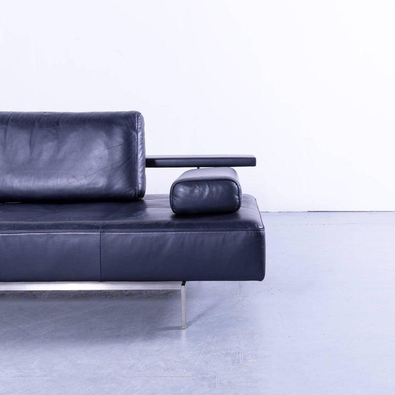 Rolf Benz Dono Designer Corner Sofa Leather Navy Blue Dark Blue Sleeping  Couch